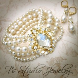 GRACE Pearl Bridal Bracelet Gold