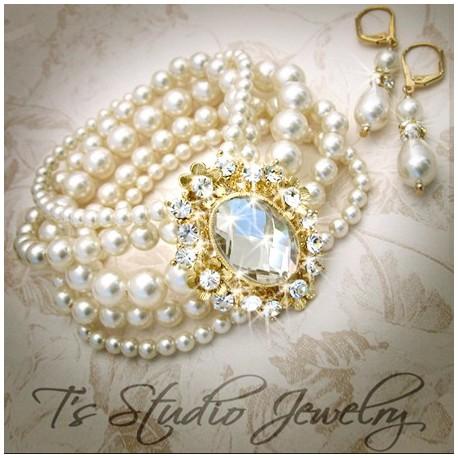 GRACE Pearl Bridal Bracelet Gold