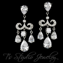 Chandelier CZ Crystal Bridal Earrings Pear Shaped CZ Cubic Zirconia
