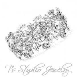 Silver Crystal Rhinestone Bridal Bracelet