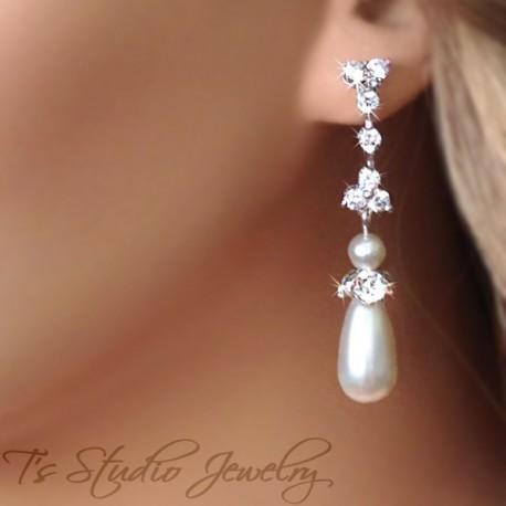 CZ Cubic Zirconia Crystal and Teardrop Pearl Bridal or Bridesmaid Earrings