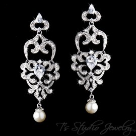 CZ Chandelier Bridal Earrings with Pearl Drop