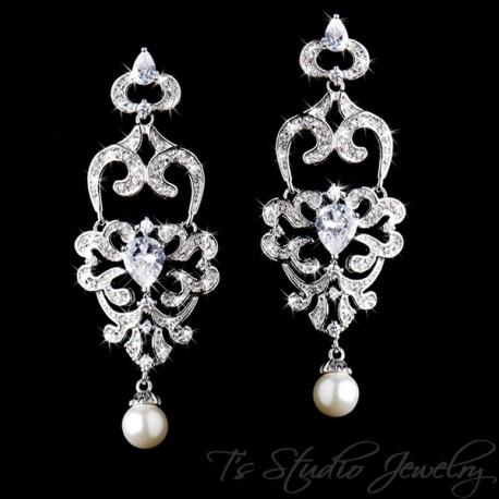 CZ Crystal Rhinestone Chandelier Bridal Earrings with Pearl Drop