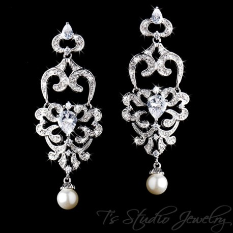 CZ Crystal Rhinestone Chandelier Bridal Earrings with Pearl Drop