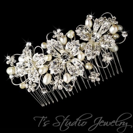Freshwater Pearl and Silver Bridal Hair Comb