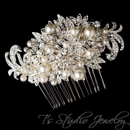 Pearl and Silver Rhinestones Bridal Hair Comb
