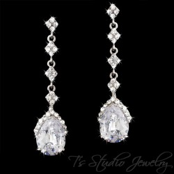 Long CZ Pear Cut Bridal Earrings