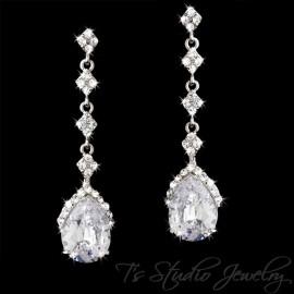Long Cz Pear Cut Bridal Earrings