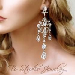 Long Crystal Pageant Rhinestone Earrings - ANGELICA