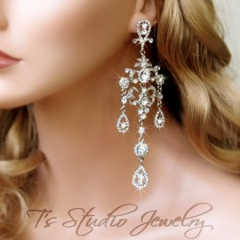 Long Crystal Rhinestone Pageant Chandelier Shoulder Duster Earrings