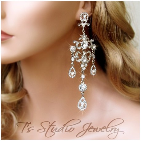 ANGELICA Long Crystal Bridal Earrings