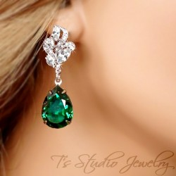 Emerald Green Crystal Pear Cut Earrings