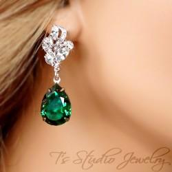 Emerald Green Pear Cut Earrings