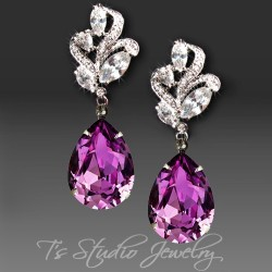 MARLOWE Amethyst Purple Pear Cut Earrings