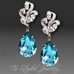 Aquamarine Pear Cut Earrings