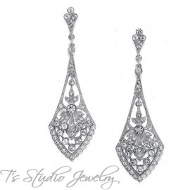 CZ Art Deco Style Bridal Earrings - Silver or Gold