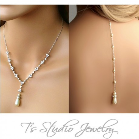 MARISSA Pearl Back Drop Lariat Bridal Necklace