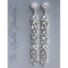 Long Skinny Rhinestone Shoulder Duster Pageant Earrings
