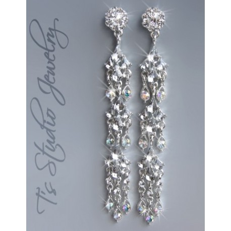 Long Shoulder Duster Chandelier Rhinestone Pageant or Bridal Earrings