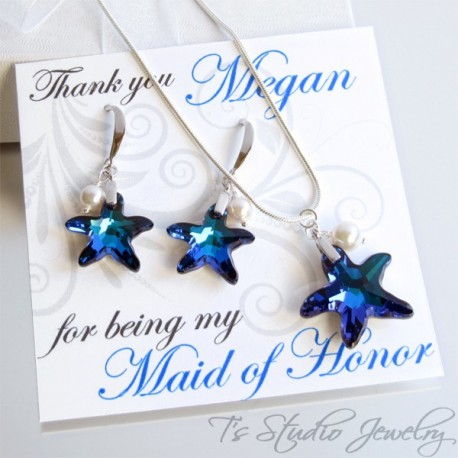 Blue Crytal Starfish Bridesmaid Necklace Earrings Set