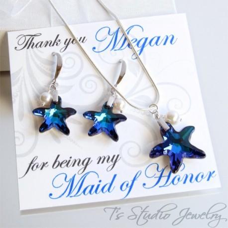 Blue Starfish Bridesmaid Set