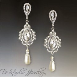 Marquise Crystal & Pearl Chandelier Bridal Earrings - SAVANNAH