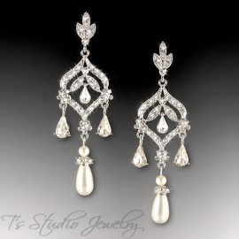 Ivory or White Pearl Bridal Chandelier Earrings - DAPHNE