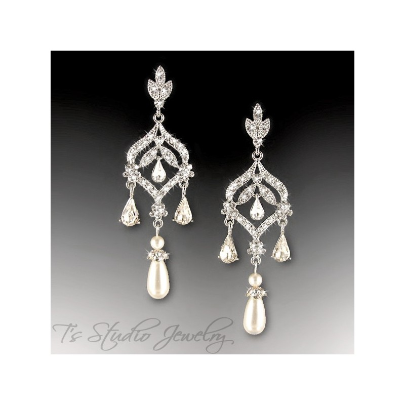 Ivory or White Pearl Long Bridal Chandelier CZ Earrings DAPHNE – Pearl Chandelier Bridal Earrings