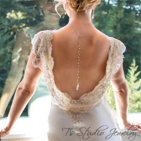 AMELIA Pearl Back Drop Gold Bridal Necklace and Earrings