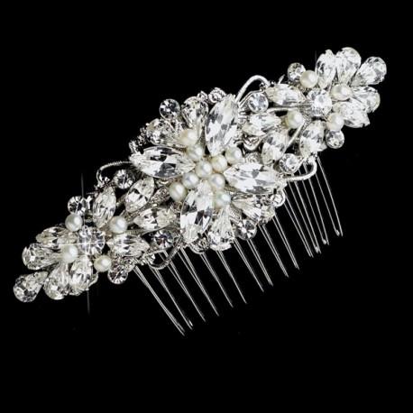 Rhinestone And Ivory Pearl Bridal Hair Comb