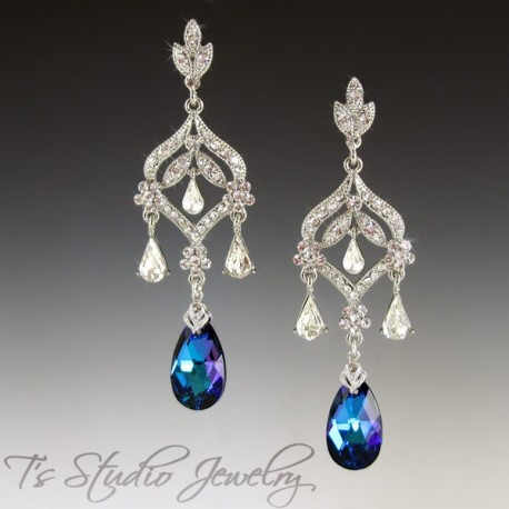Blue Pear Teardrop Crystal Bridal Earrings - DAPHNE