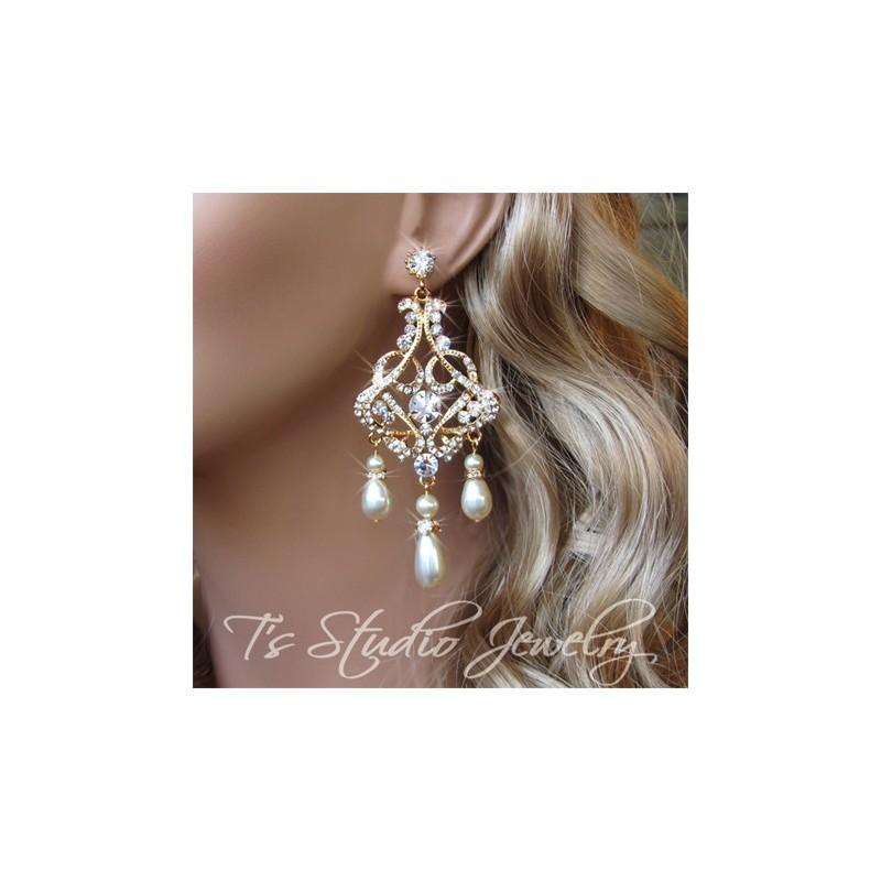 Gold wedding jewelry pearl and rhinestone bridal chandelier earrings teardrop pearl and rhinestone gold bridal chandelier earrings aloadofball Images