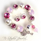 Tickled Pink Rose Opal Pearl and Crystal Bracelet
