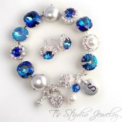 Royal Bermuda Blue Crystal and Pearl Bracelet