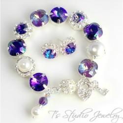Regency Purple Pearl and Crystal Bracelet