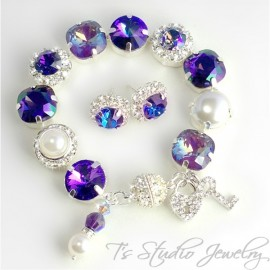 Regency Purple Pearl and Crystal Bracelet