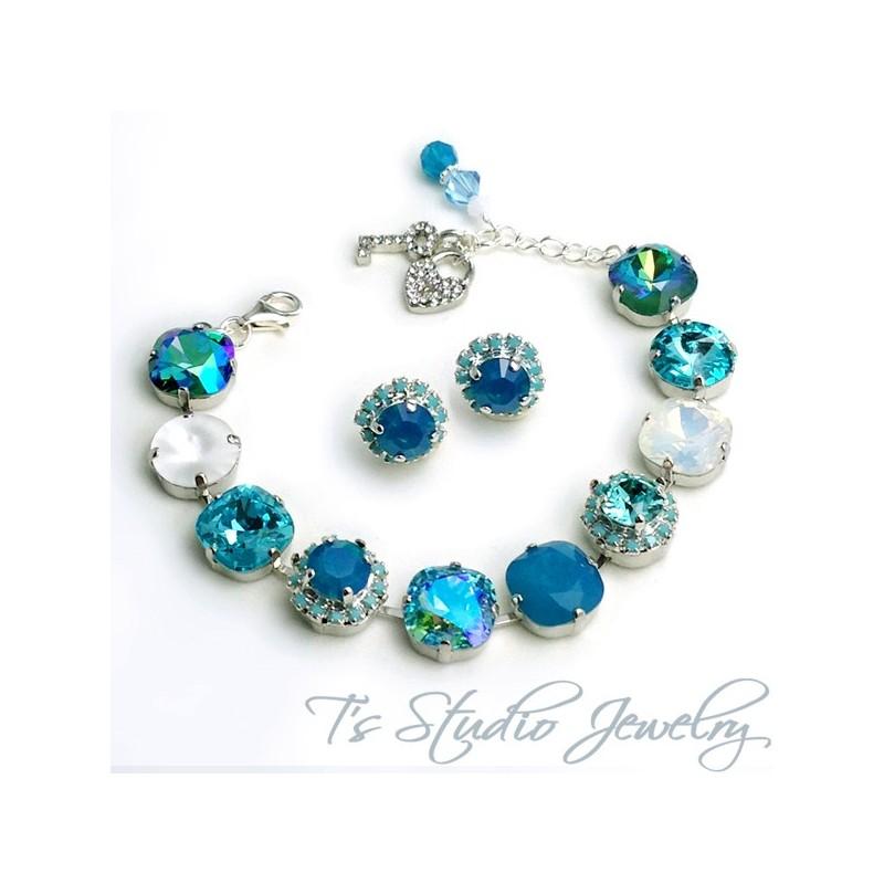 Turquoise aqua marine spa blue bracelet 12mm for Salon turquoise