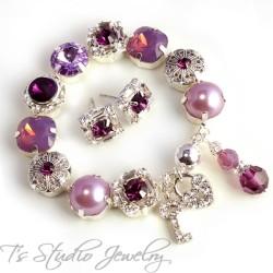Purple Amethyst Lavender Bouquet Bracelet - 12mm