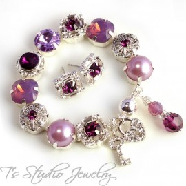 Purple Amethyst Lavender Bouquet Bracelet - 12mm