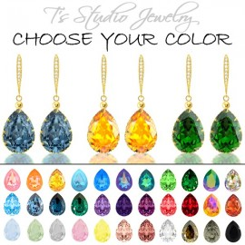 CHOOSE YOUR COLOR Pear Shaped Crystal Bridesmaid Earrings - Gold