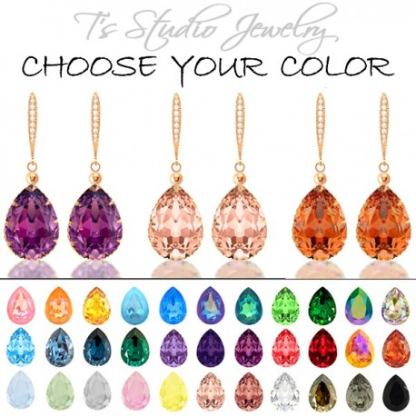 CHOOSE YOUR COLOR Pear Shaped Crystal Bridesmaid Earrings - Rose Gold