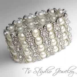 4-Strand Pearl & Rhinestone Cuff Bridal Bracelet