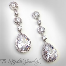 Teardrop CZ Cubic Zirconia Crystal Bridal Chandelier Earrings in Silver