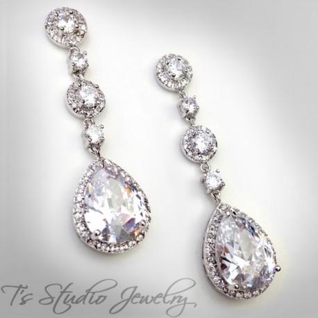 Teardrop CZ Bridal Chandelier Earrings
