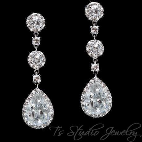 Teardrop CZ Bridal Chandelier Earrings Cubic Zirconia Crystal
