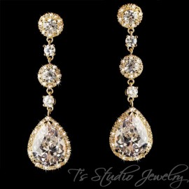Gold Pear CZ Cubic Zirconia Crystal Bridal Chandelier Earrings