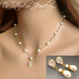 Teardrop Pearl Bridal Necklace Earrings Set Charlotte