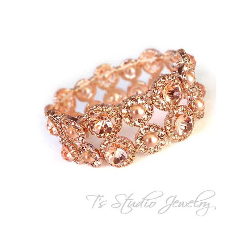 Rose Gold Crystal Rhinestone And Pearl Bridal Chandelier