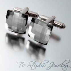 Charcoal Grey Swarovski Crystal Square Chessboard Cufflinks