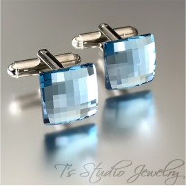 Aqua Blue Swarovski Crystal Square Chessboard Cufflinks